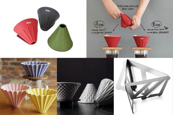 voronki dlya prigotovleniya coffee iz keramiki, metalla, silikona